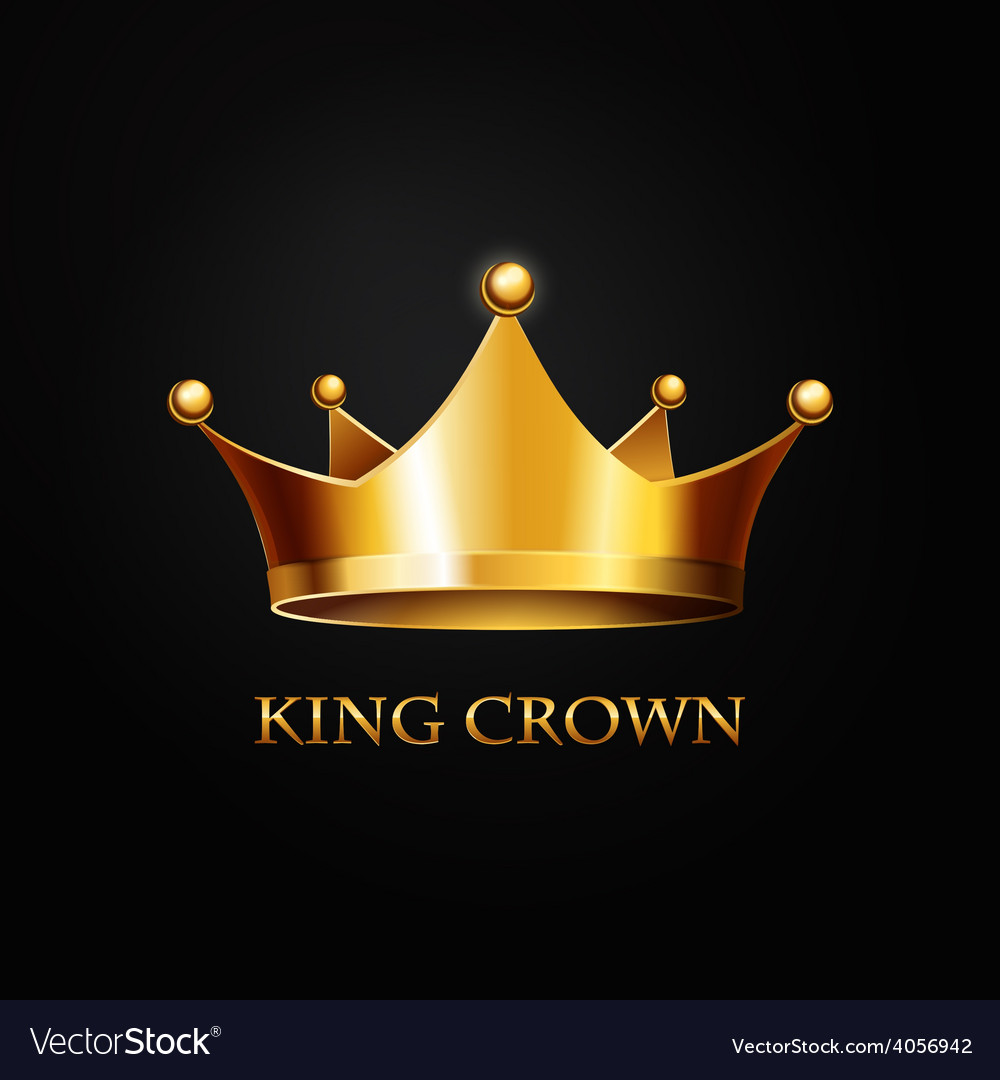 Gold crown on black vector