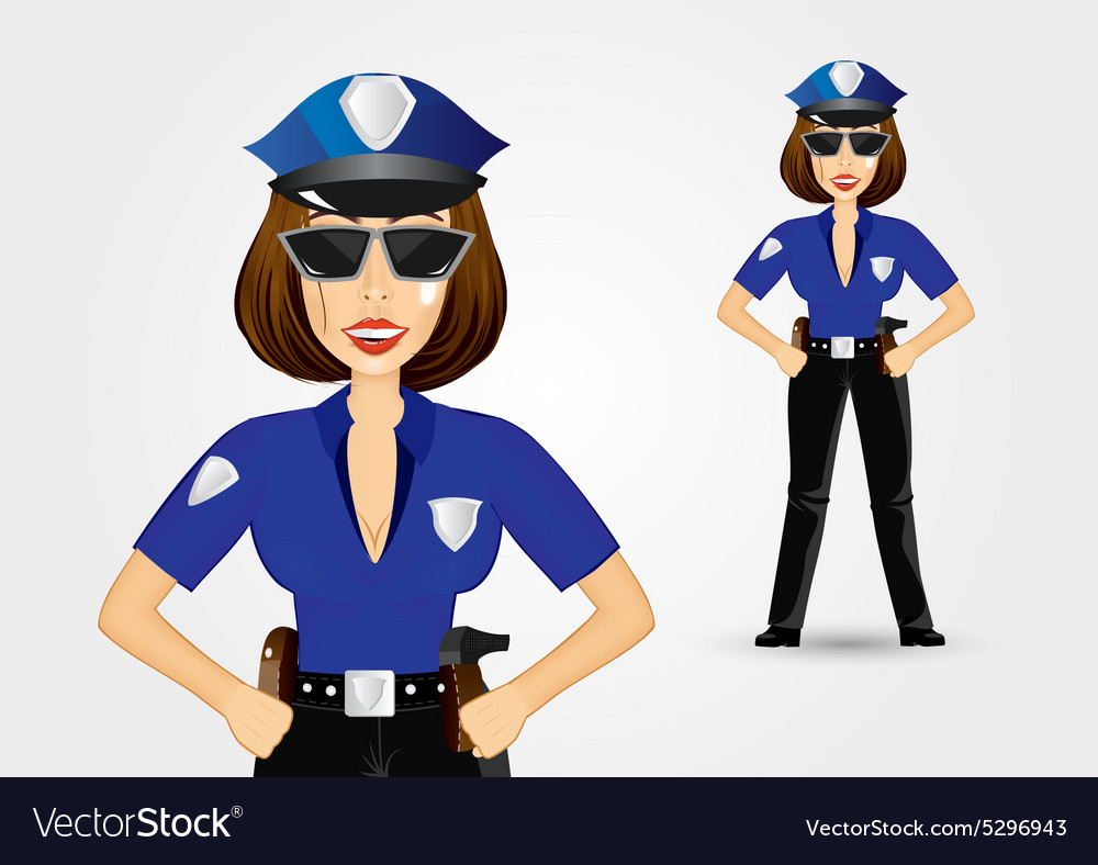 Beautiful strict policewoman holding hands on hips vector