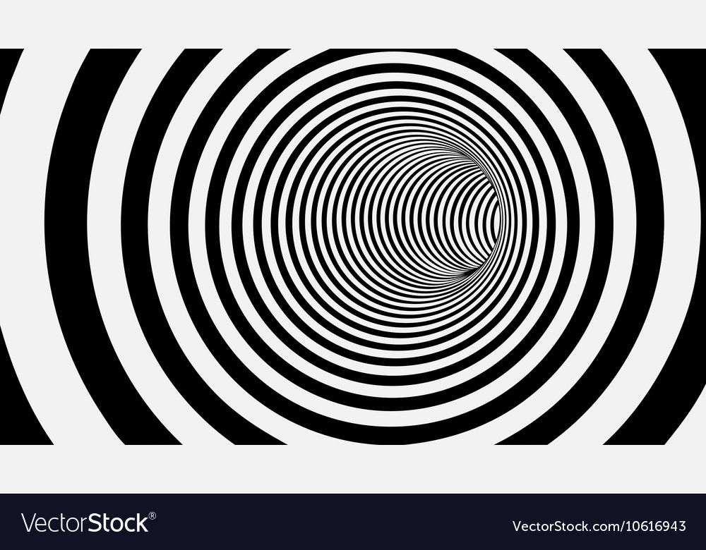 Black and white circle striped abstract tunnel vector