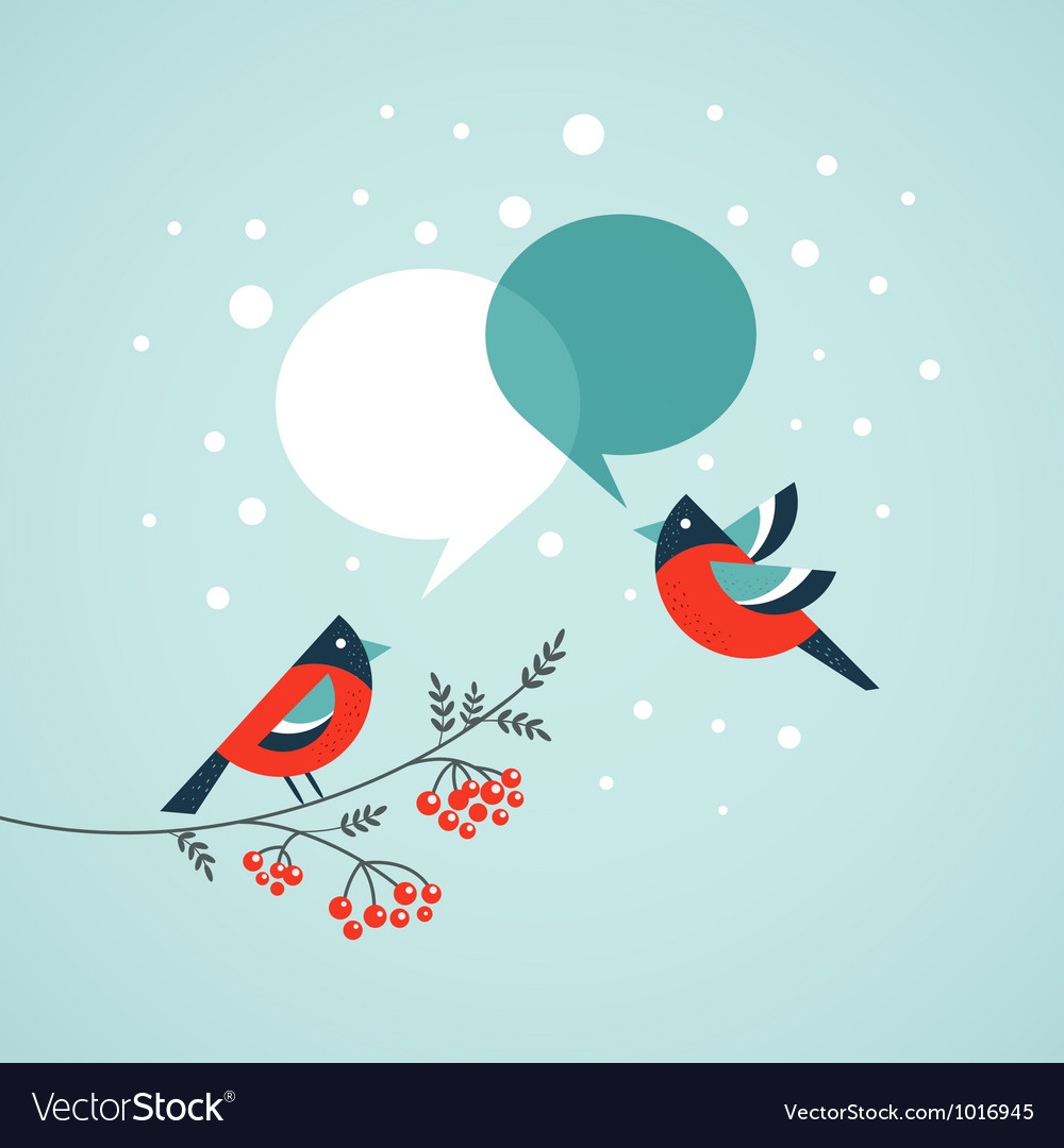 Christmas tree with birds and speech bubbles vector