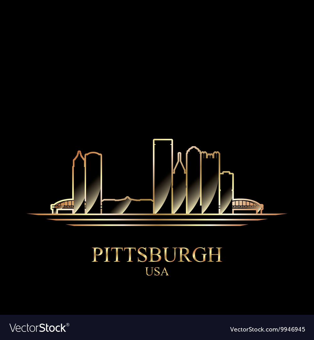 Gold silhouette of pittsburgh on black background vector