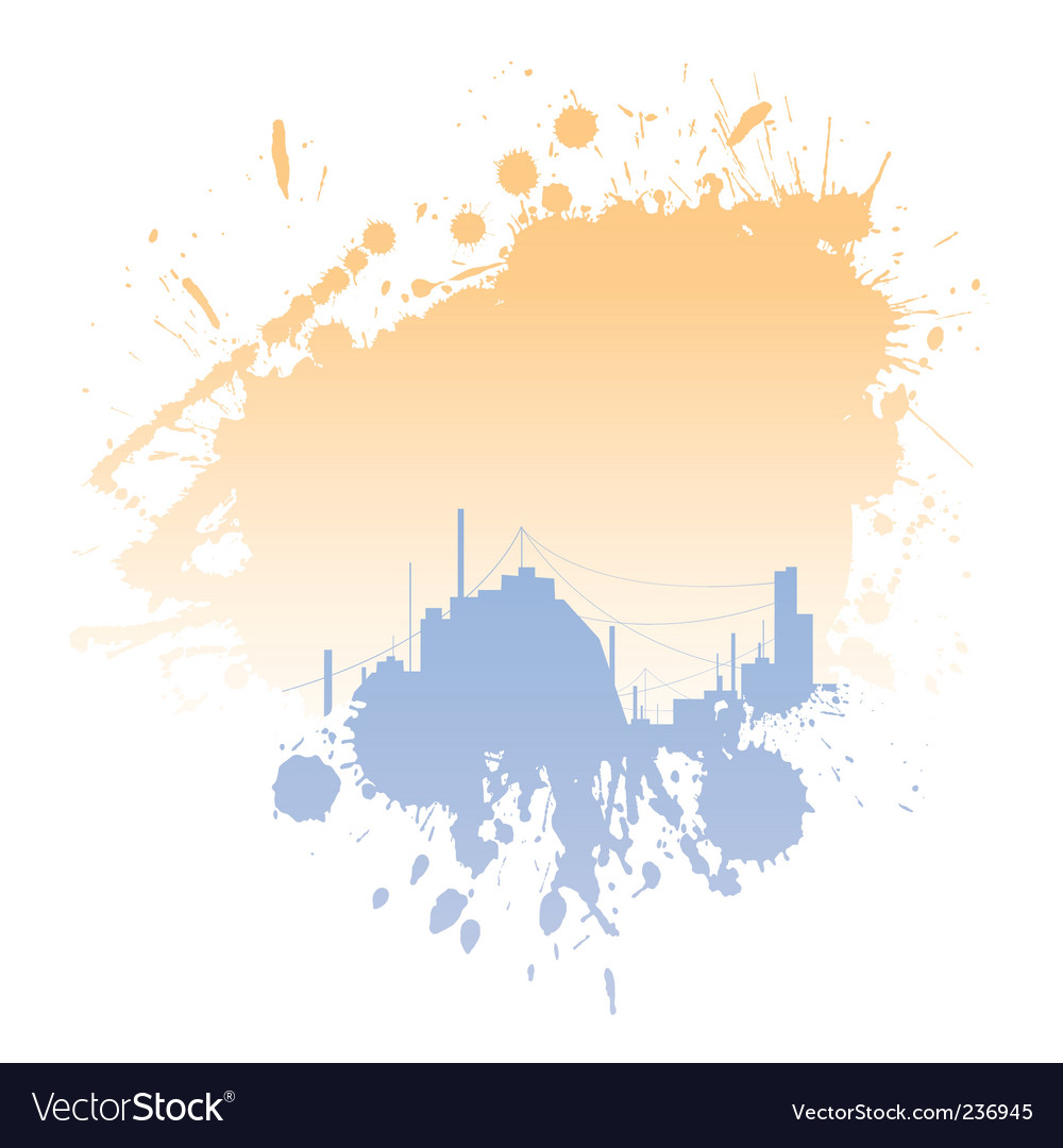 Grungy blot with city silhouettes vector