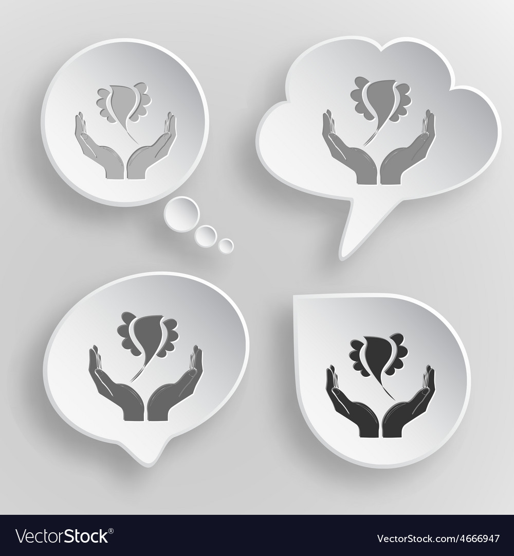 Bird in hands white flat buttons on gray vector