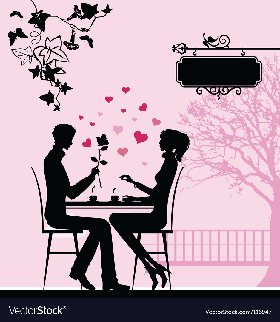 Cafe couple vector