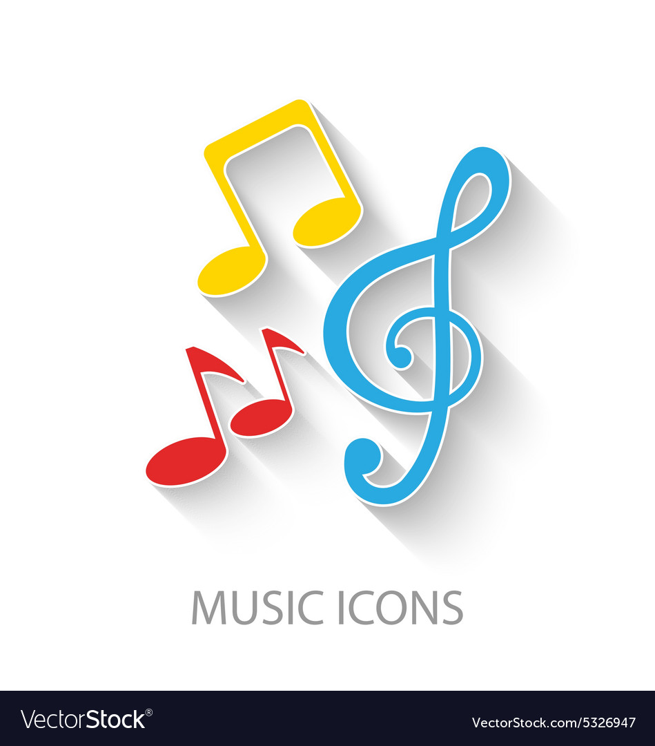 Colorful stylish music icons vector