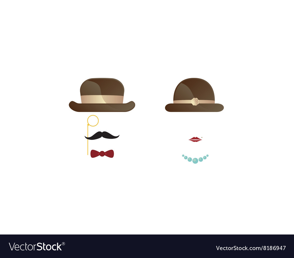 Gentleman and lady symbol black icon vector