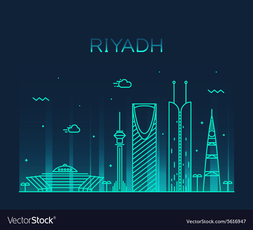 Riyadh skyline trendy linear vector