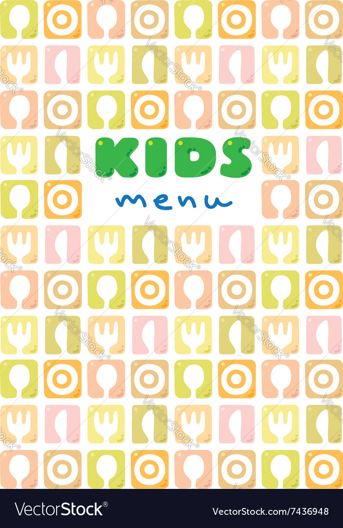 Design template background or cover for kids menu vector