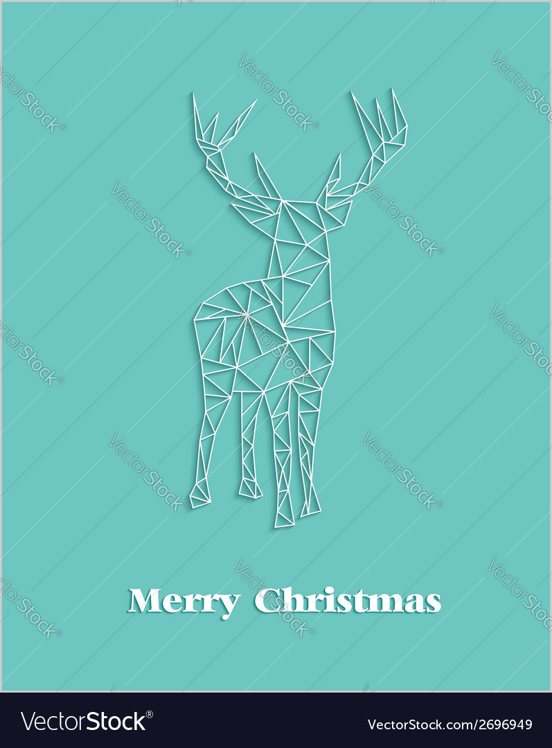 Merry christmas geometric abstract reindeer vector