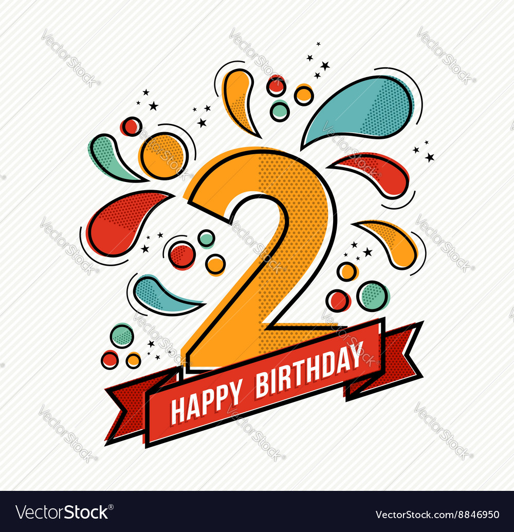 Colorful happy birthday number 2 flat line design vector