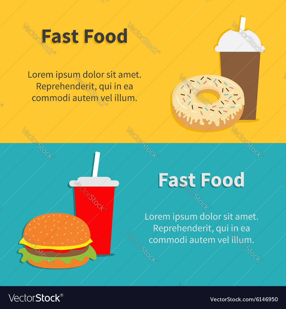 Fast food banner set hamburger soda with straw vector