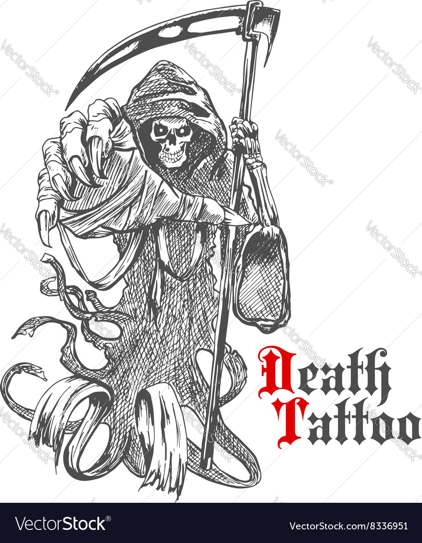 Grim reaper sketch with skeleton in cape vector