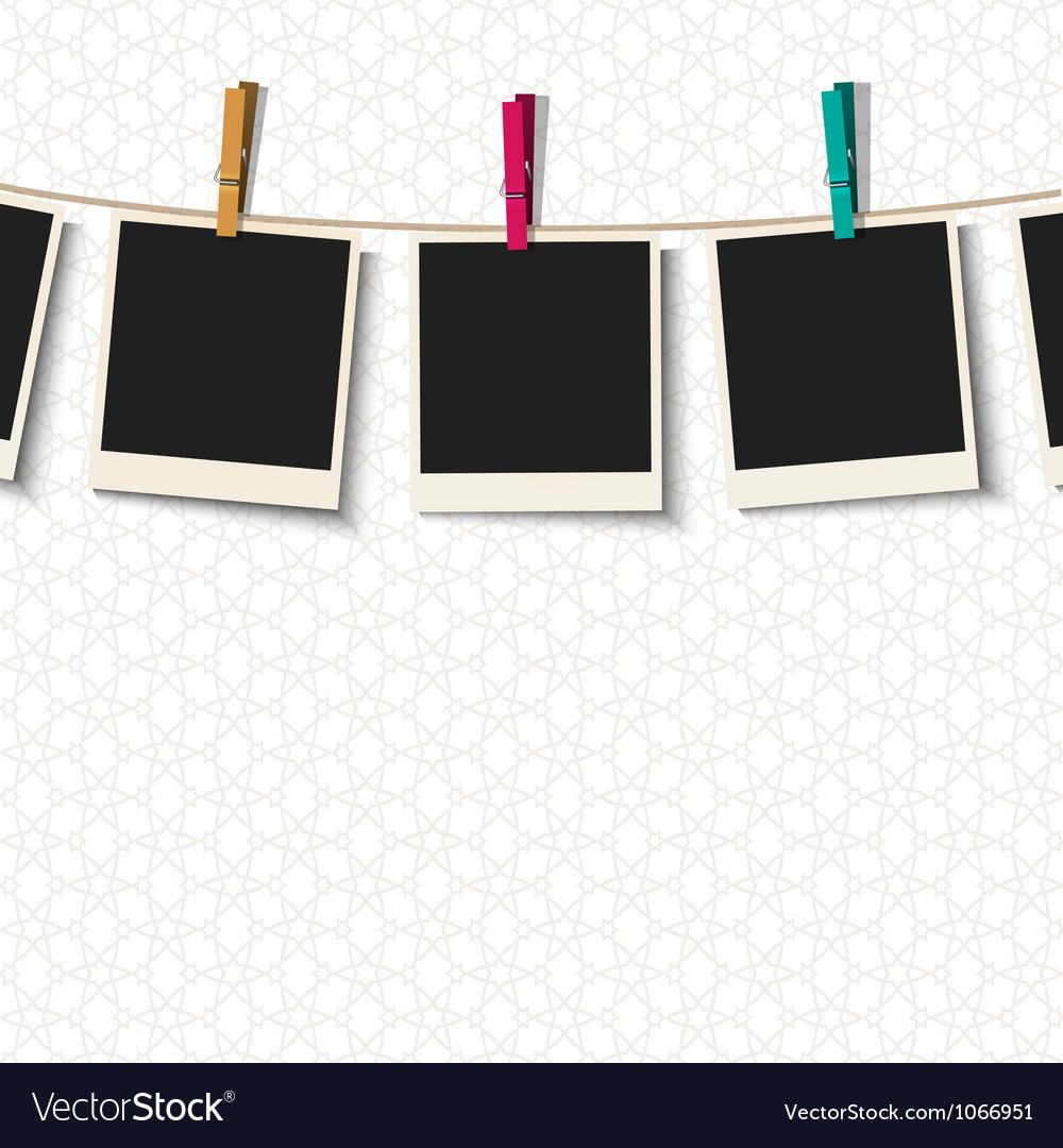 Photo frames with clothespins vector