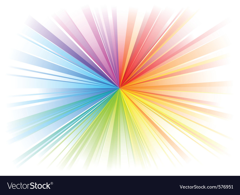 Rainbow rays on the white vector