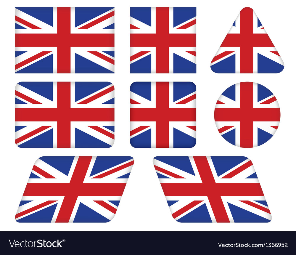 Buttons with union jack flag vector