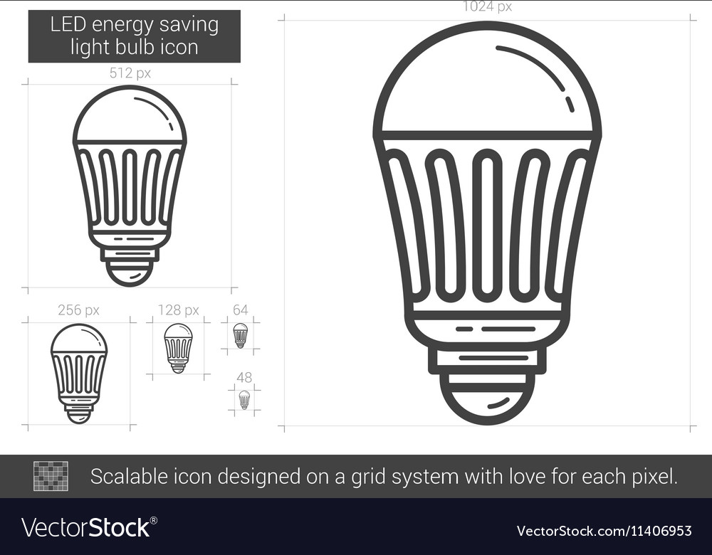 Led energy saving light bulb line icon vector