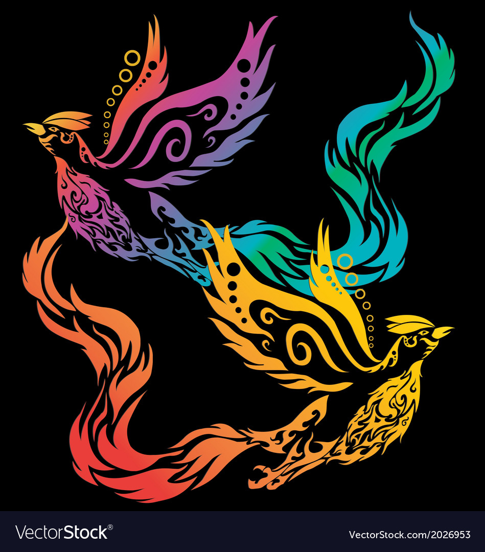 Phoenix tribal chinese style on white background vector