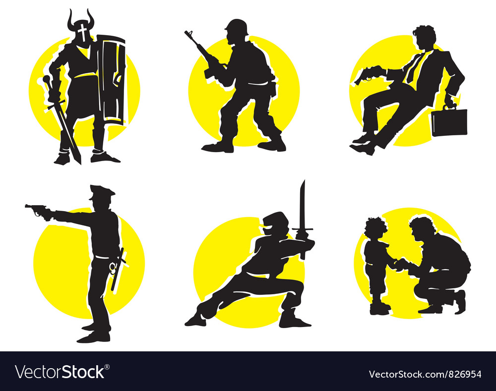 Cinema silhouettes icons knight vector