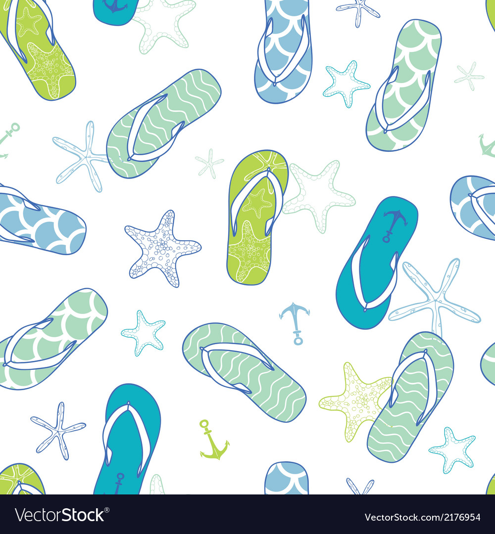 Nautical flip flops blue and green seamless vector