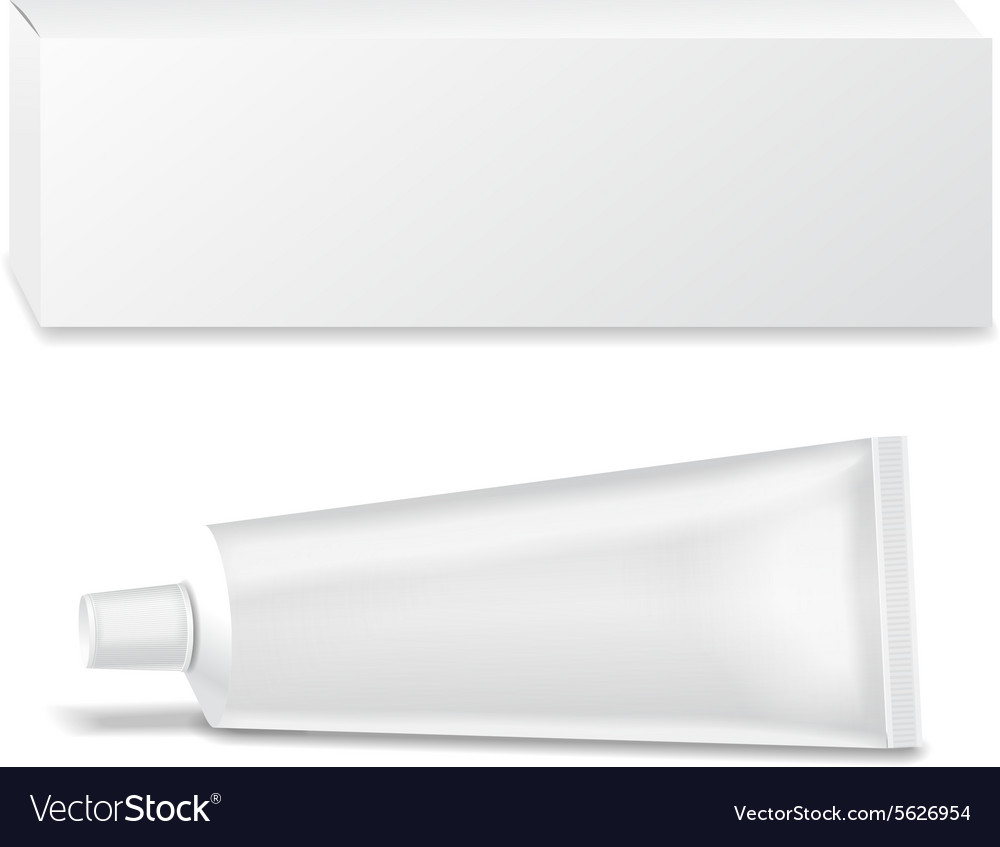 Realistic white tube and packaging for cosmetics vector