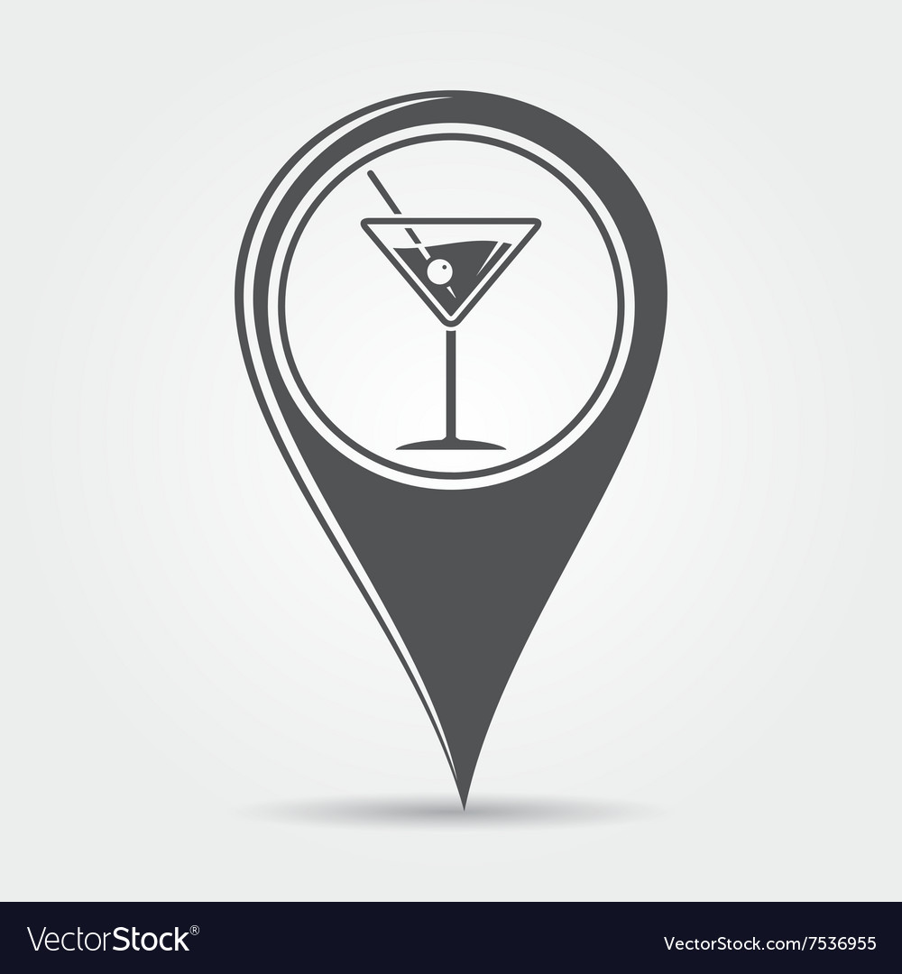 Martini cocktail map pointer icon vector