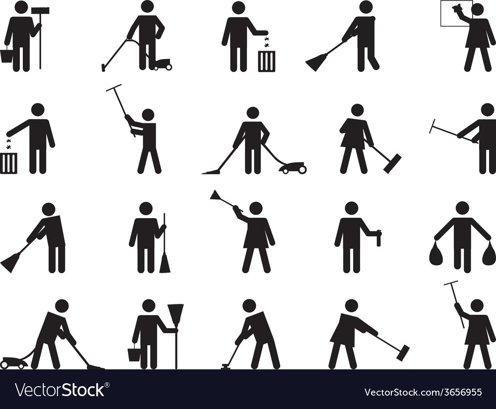 Pictogram people cleaning vector