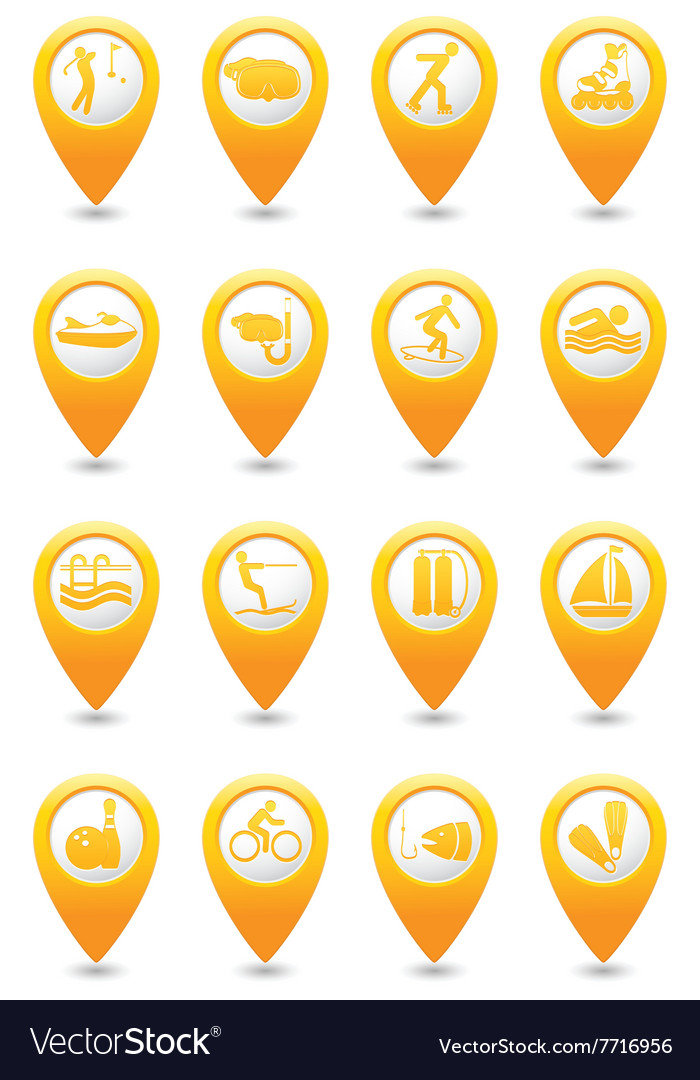 Sport and vacation icons on yellow map pointers vector