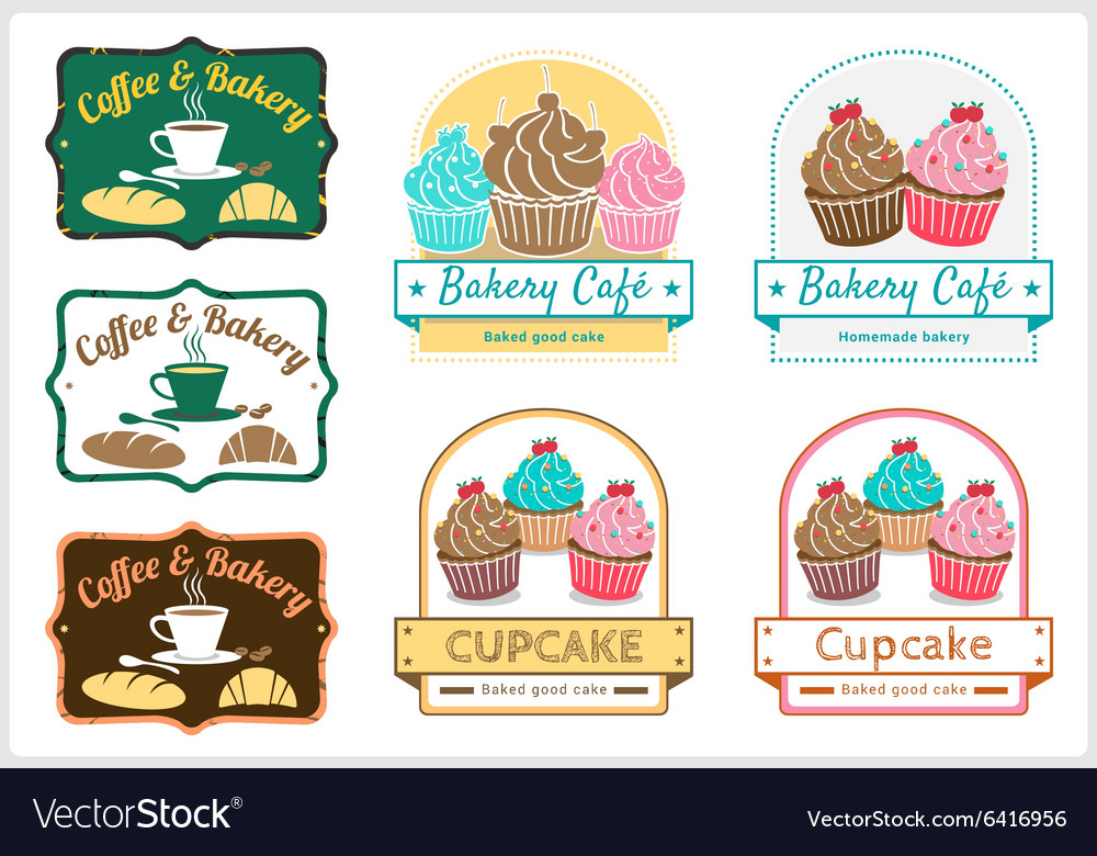 Sweet cupcake bakery badge label logo vector