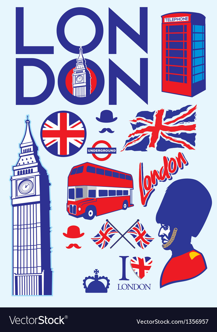Collection of london icons vector