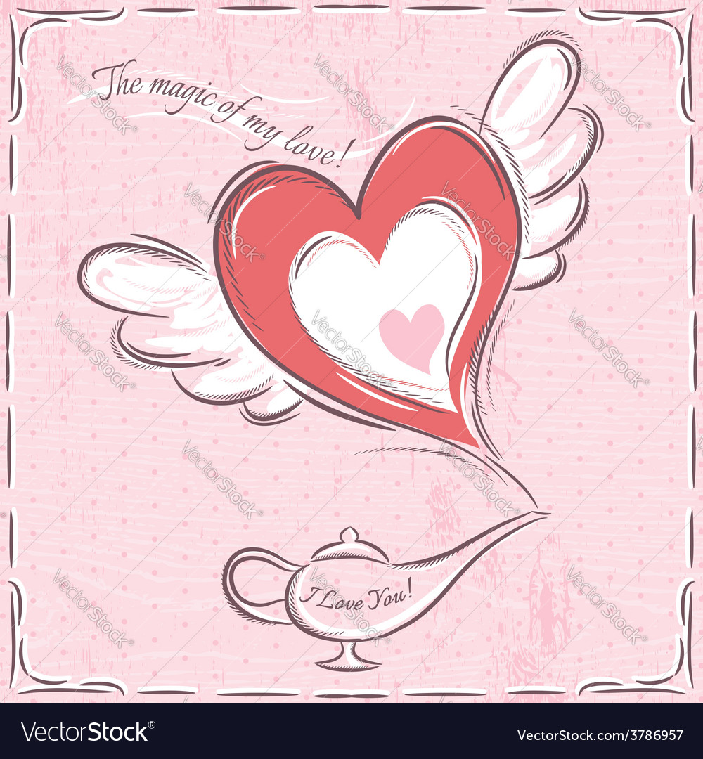 Pink valentine card with heart and magic lamp vector