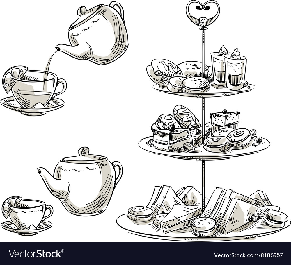 Set of snacks on a tray vector