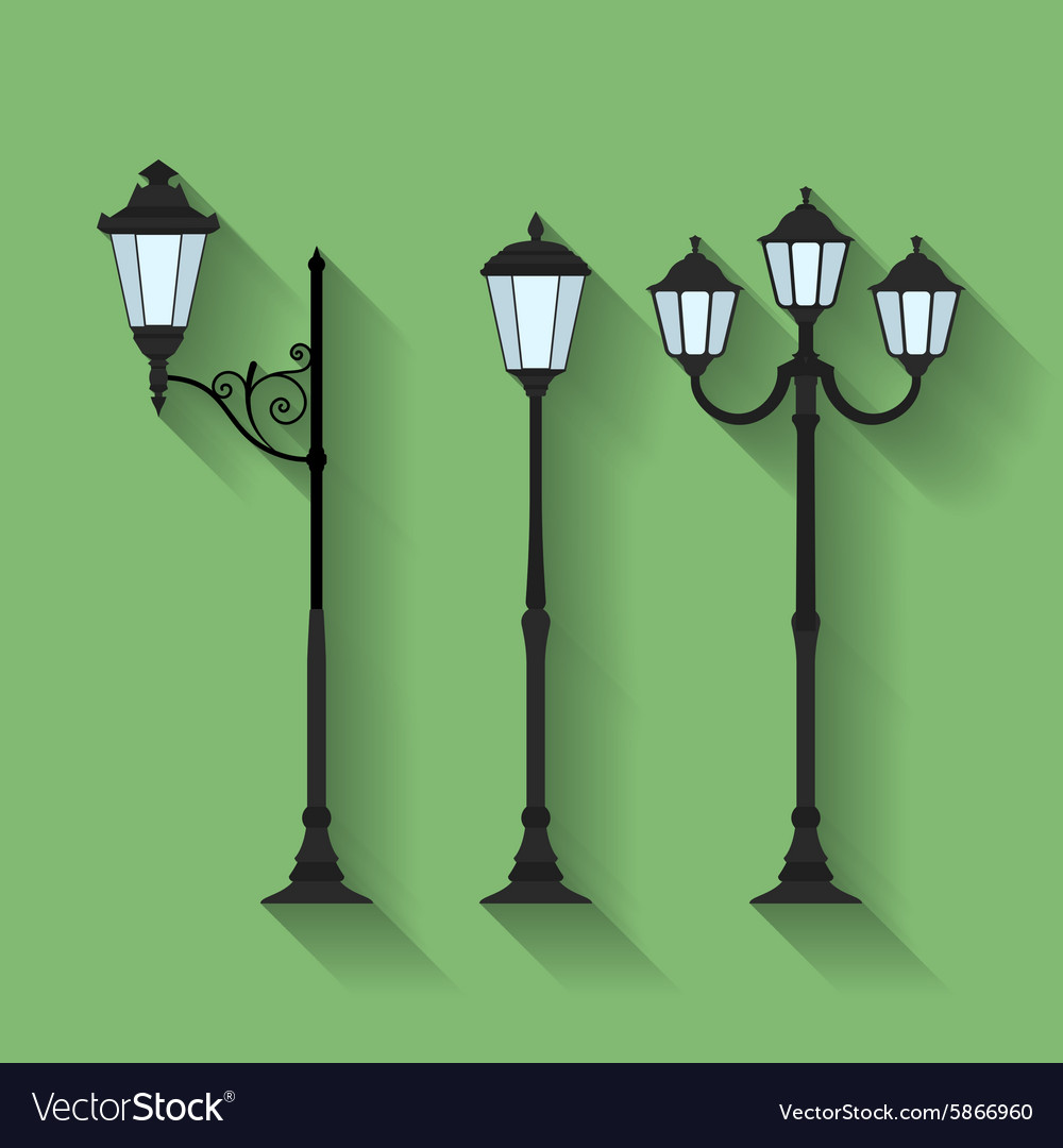 Icon set of three streetlights or lanterns flat vector