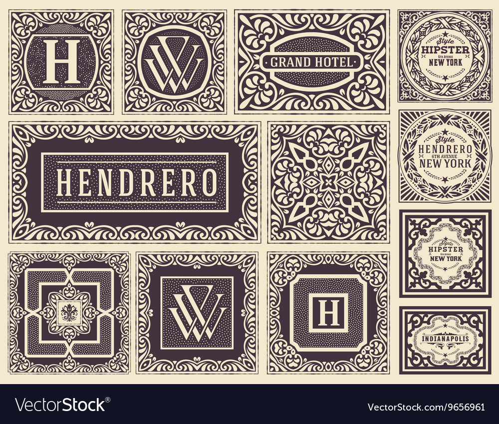 Retro cards set elements layered vector