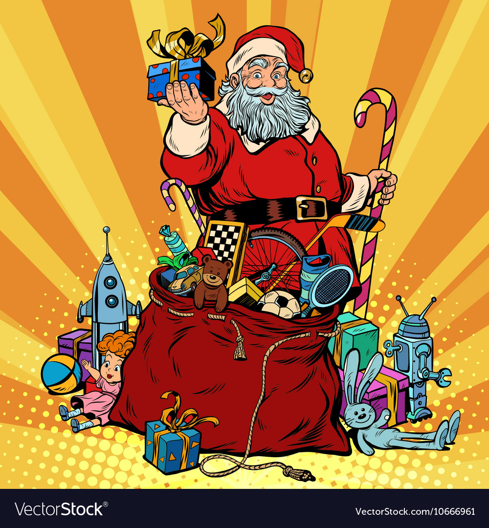 Santa claus with bag of gifts christmas and new vector