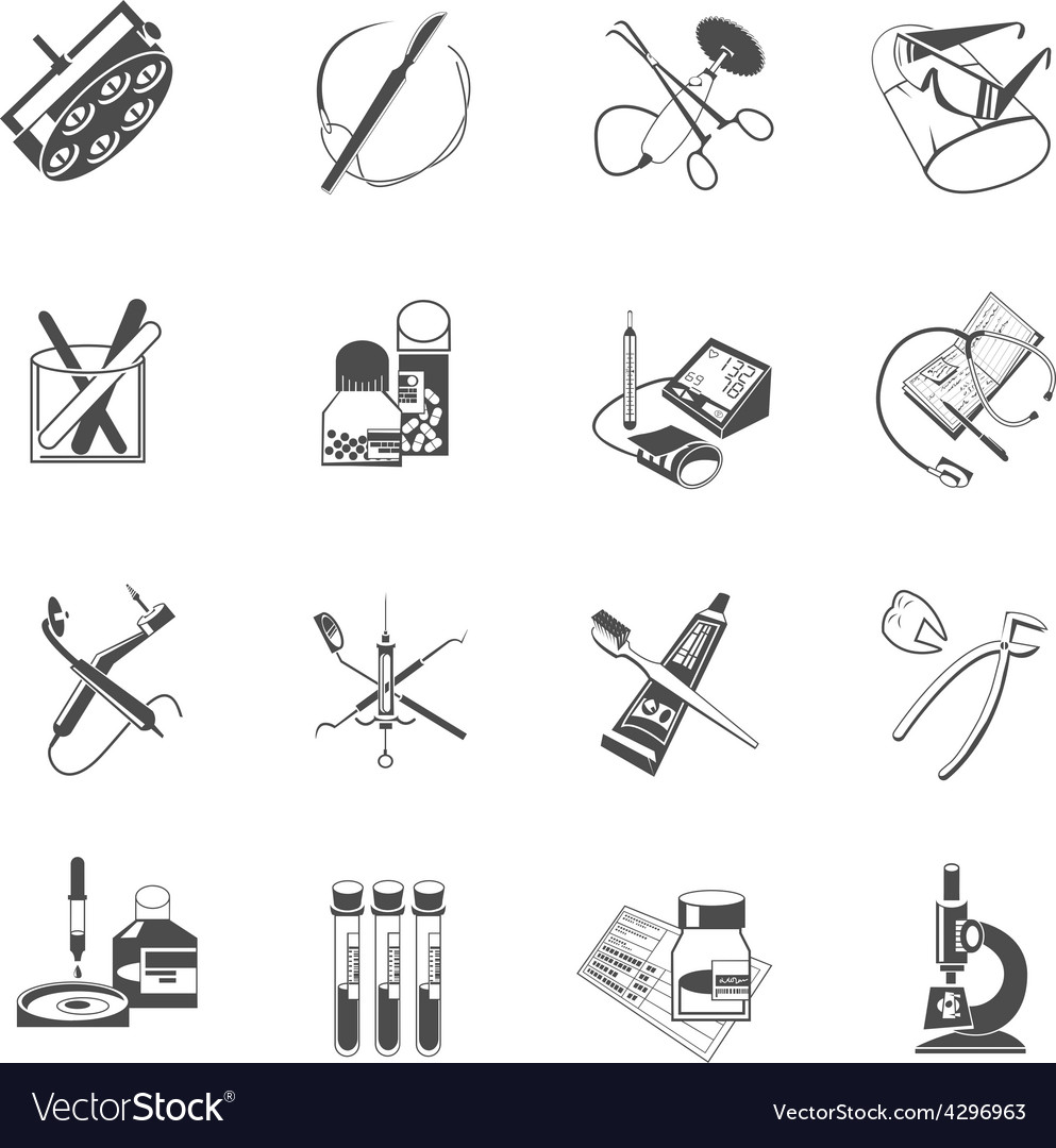 Medical healthcare icons set black vector