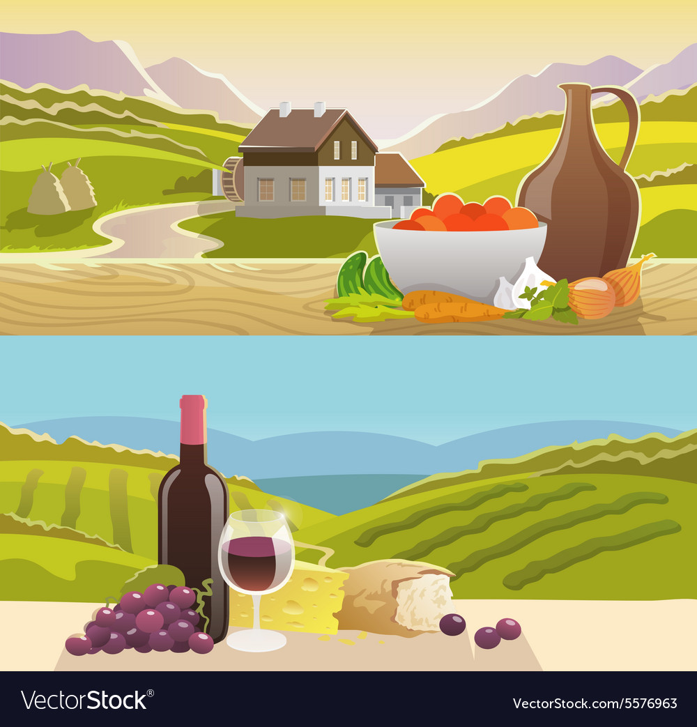 Mountain landscape banner vector