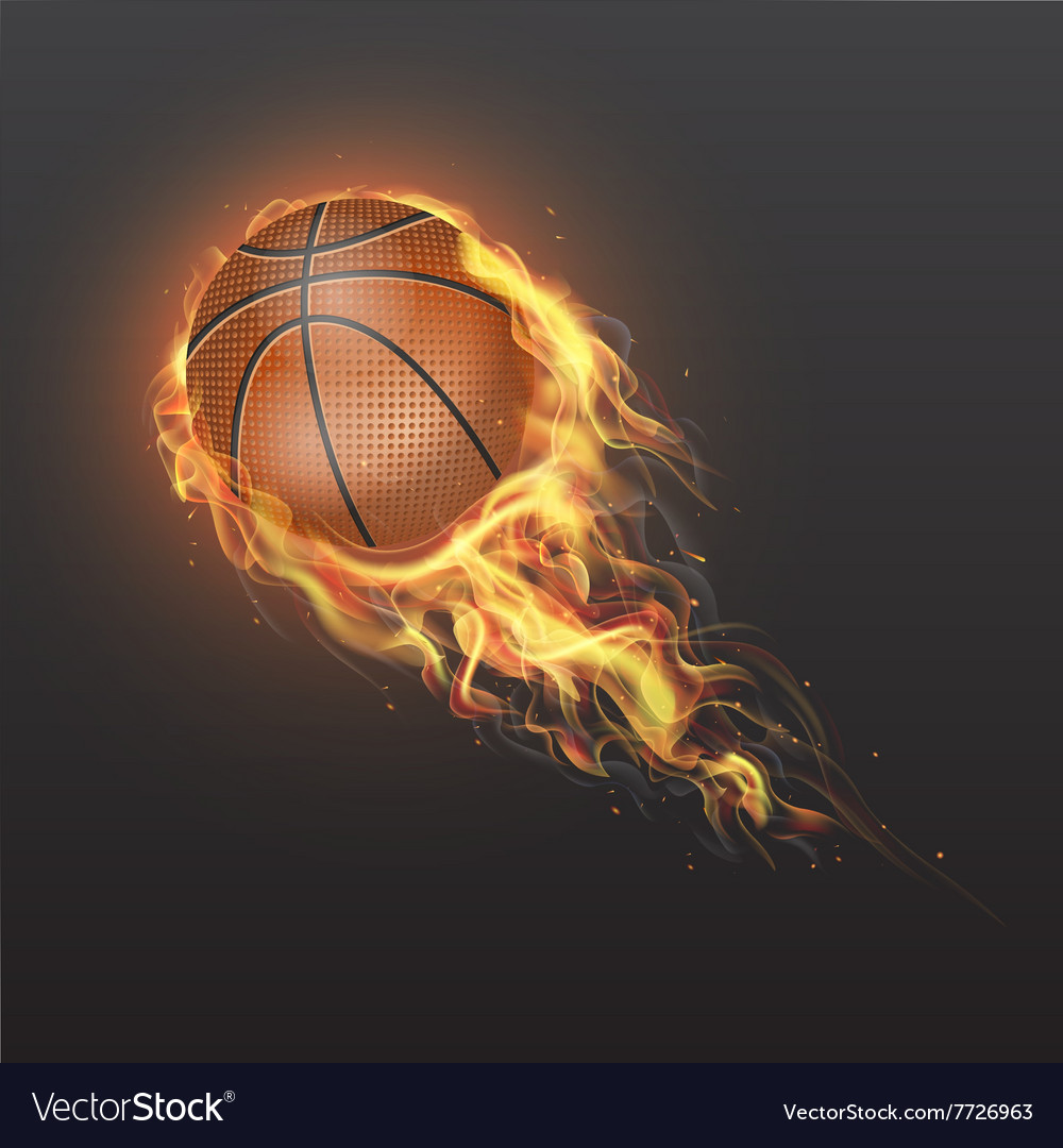 Realistic basketball ball on fire vector