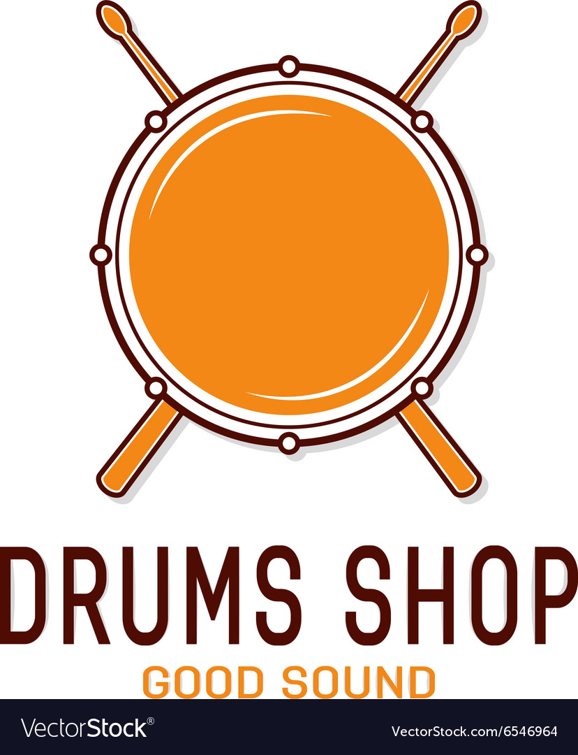 Drum icon with sticks drum school logo vector