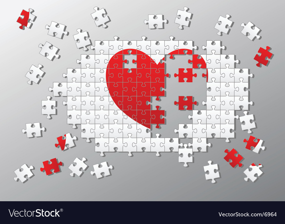 Jigsaw pieces broken heart vector