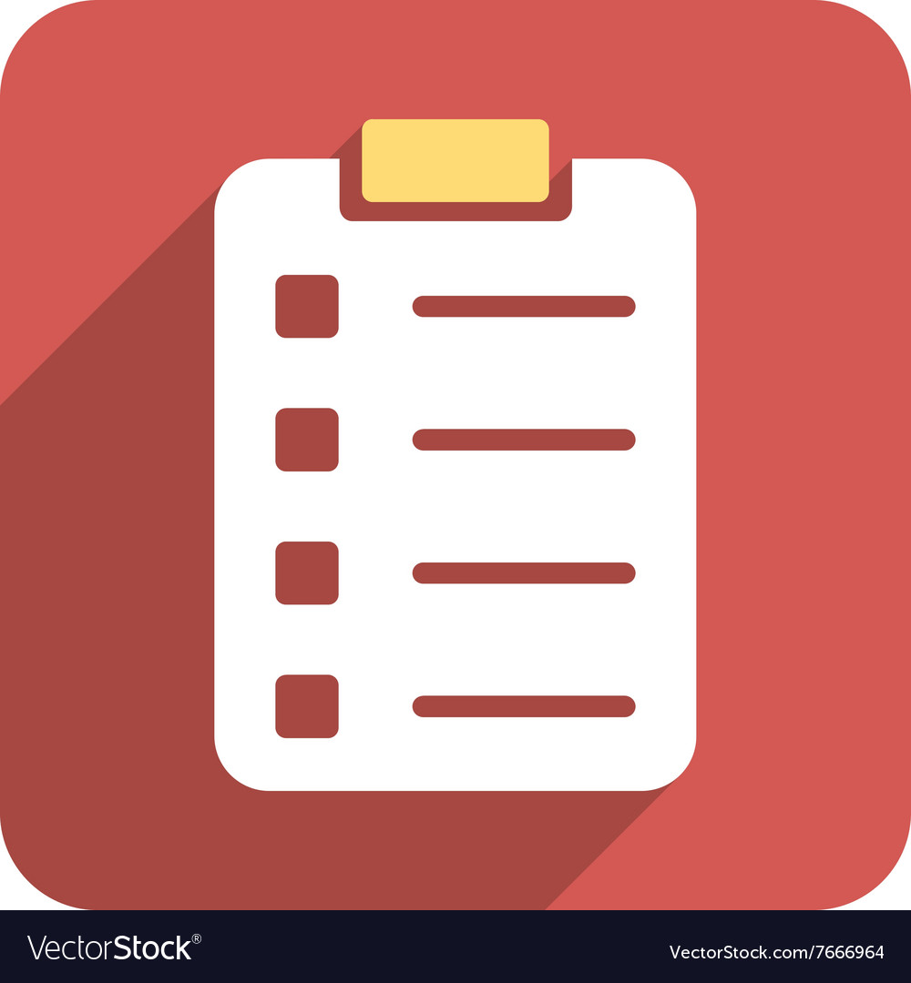 Pad form flat rounded square icon with long shadow vector