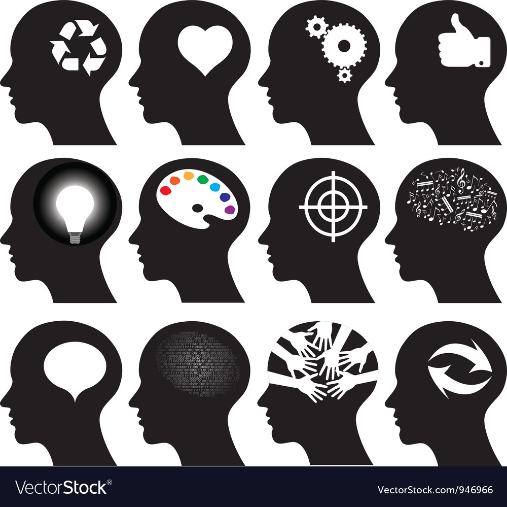 12 head icons vector