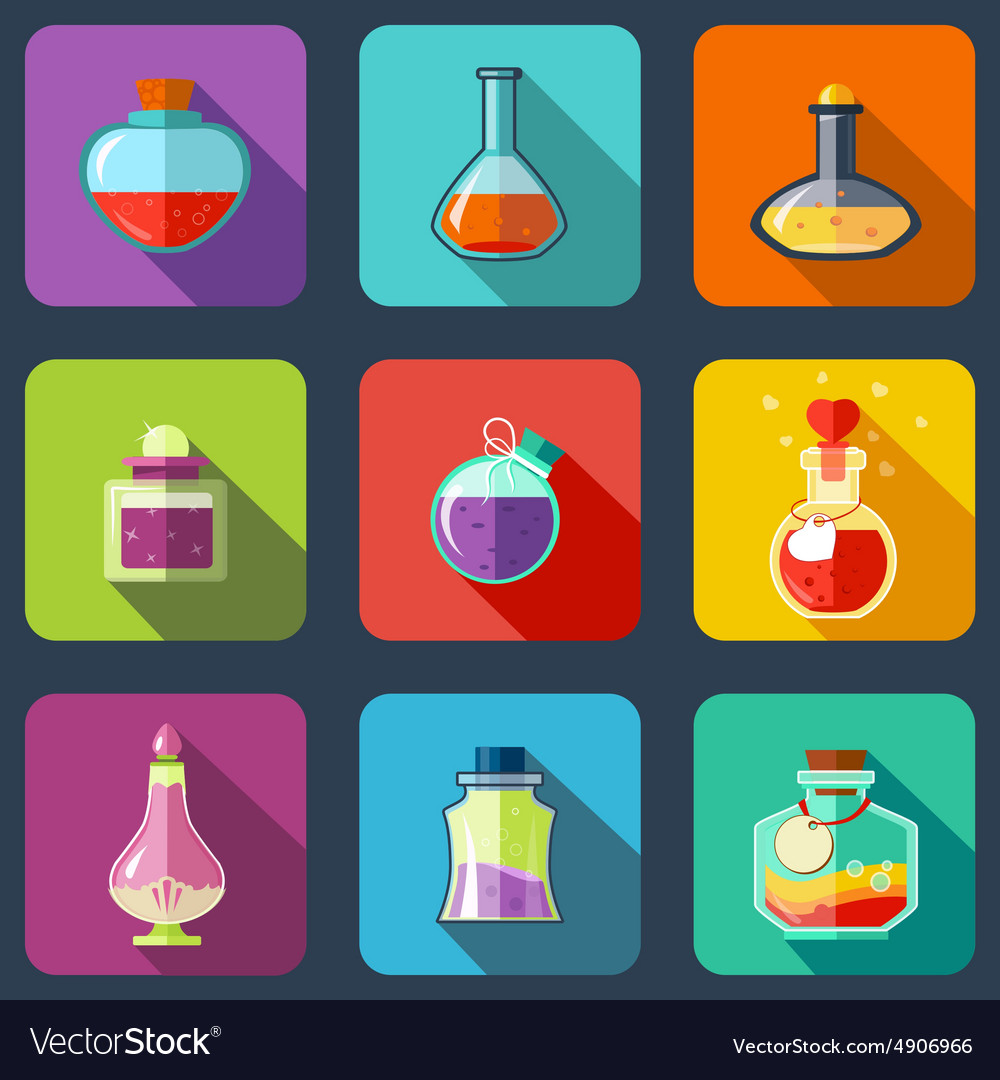 Transparent magic elixir in different colors with vector