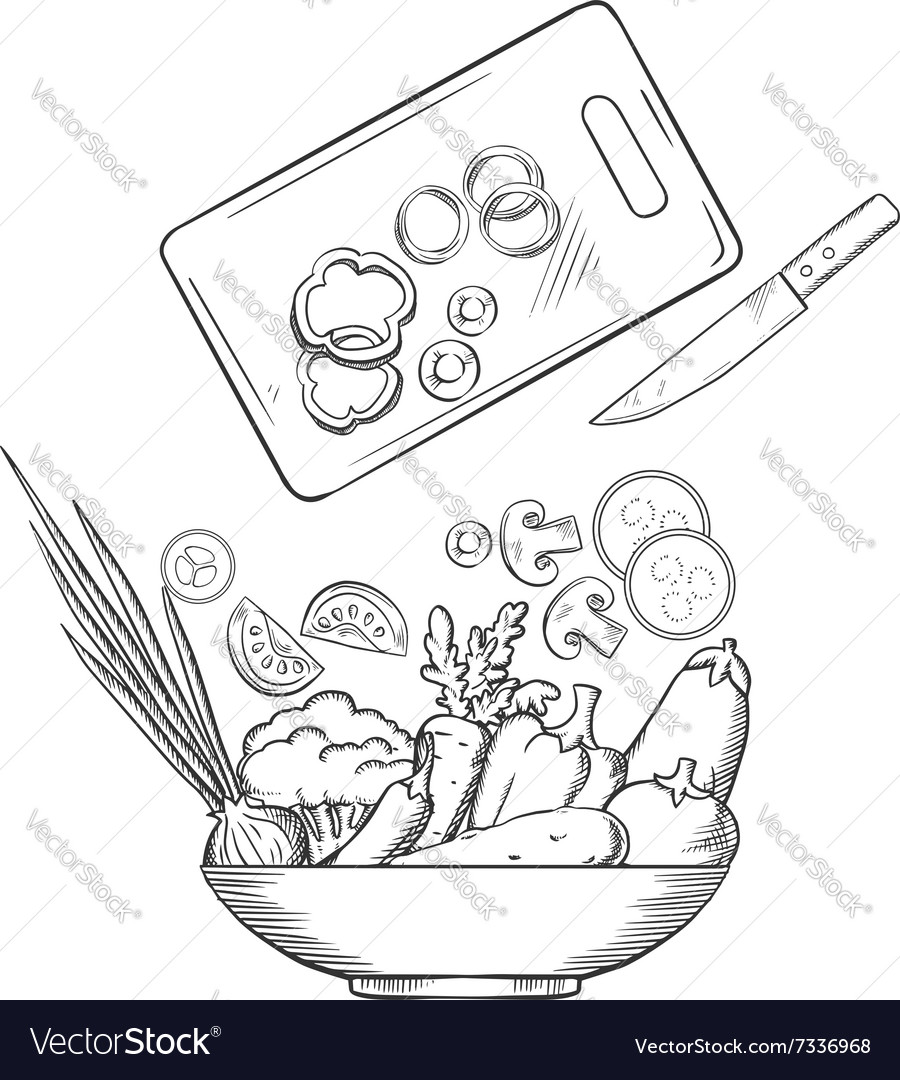 Salad preparation with bowl of fresh vegetables vector