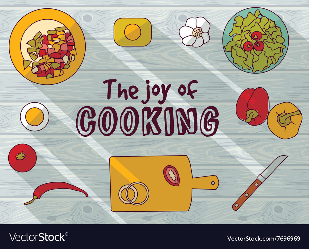 Cooking objects top view flat wood background vector