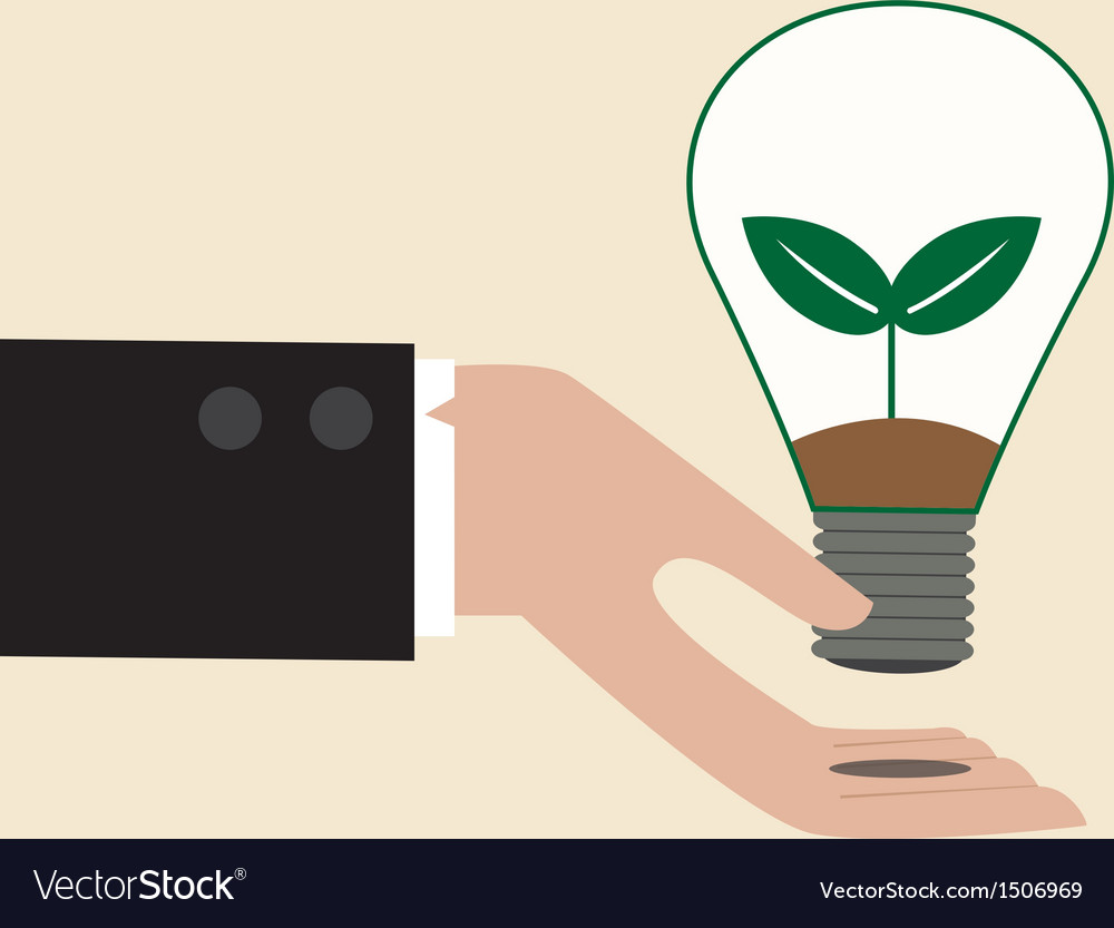 Ecology light bulb on businessman hand vector