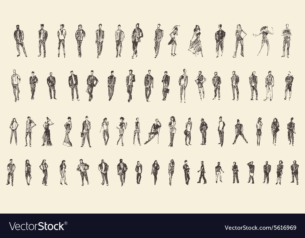 People sketch hand drawing vector