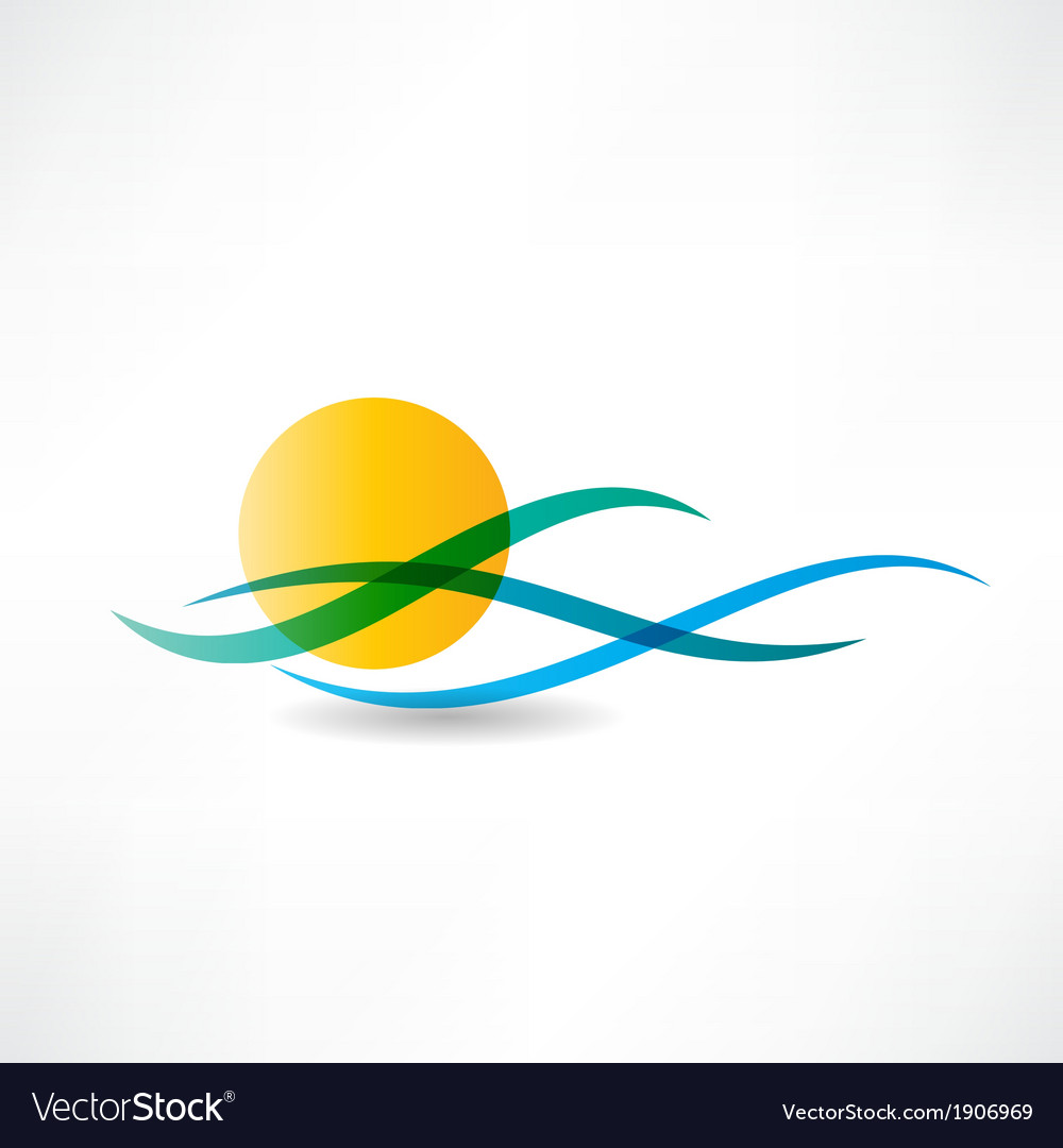 Sun sea abstractly icon vector