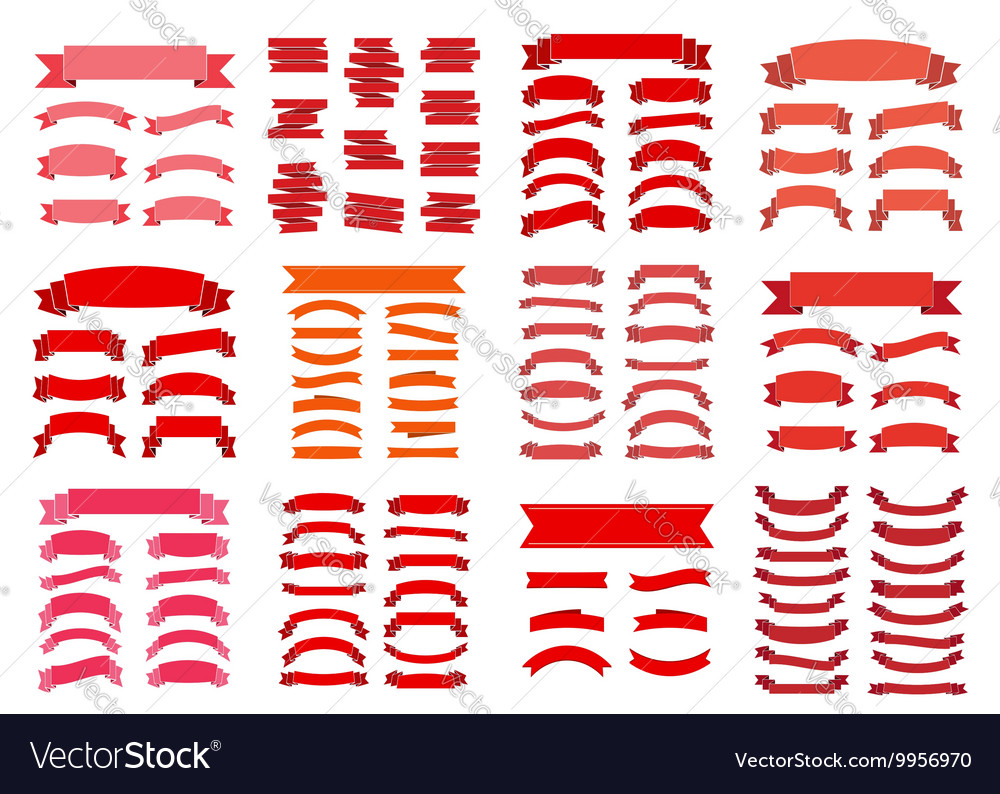 Red ribbon banners blank big set vector