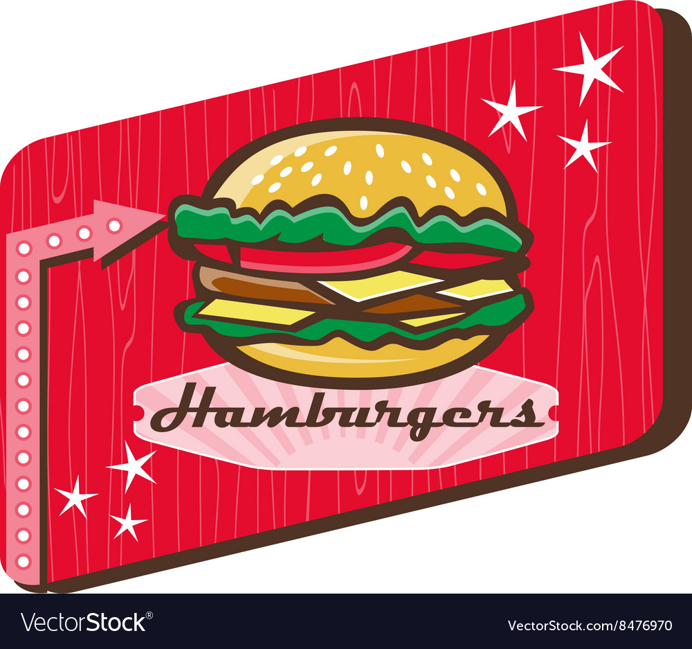 Retro 1950s diner hamburger sign vector