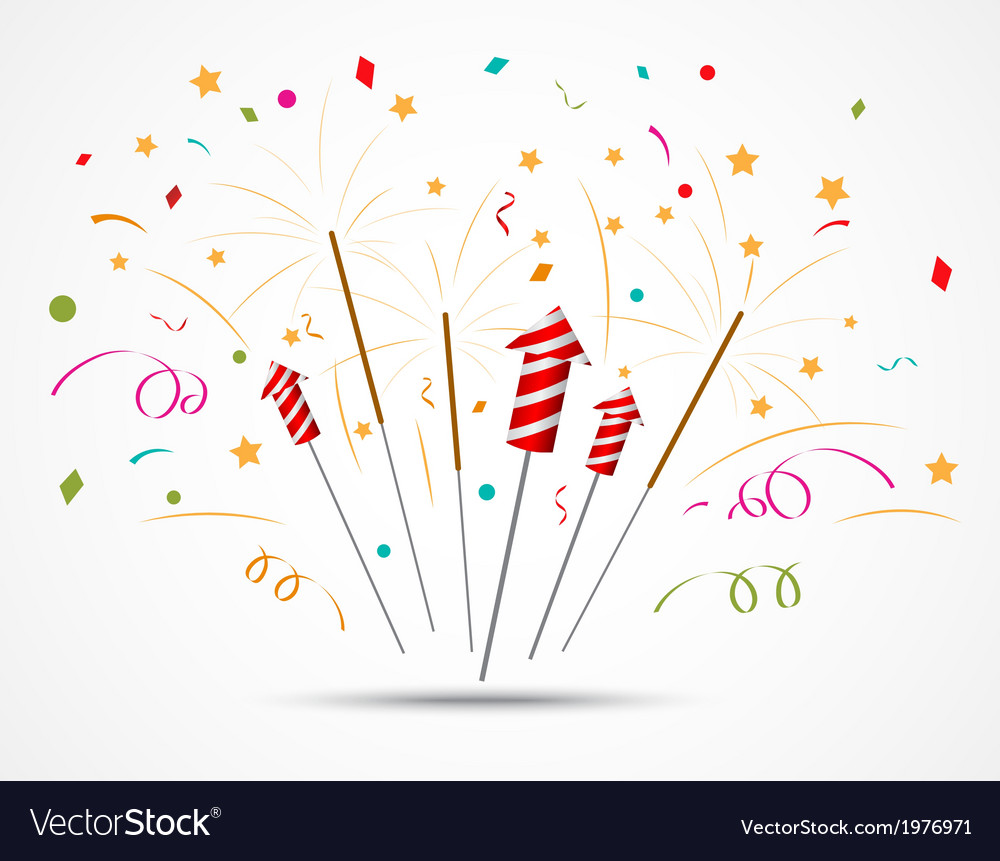 Firecracker with fireworks popping on white vector